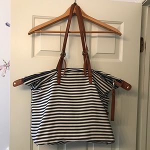 Large striped tote bag